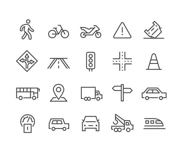 stockillustraties, clipart, cartoons en iconen met verkeerspictogrammen - classic line series - wandelen