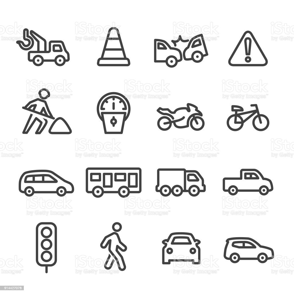 Traffic Icons - Line Series vector art illustration