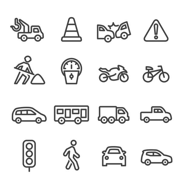 traffic icons - line series - part of a series stock illustrations, clip art, cartoons, & icons