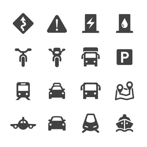 zestaw ikon ruchu drogowego - seria acme - przewóz stock illustrations