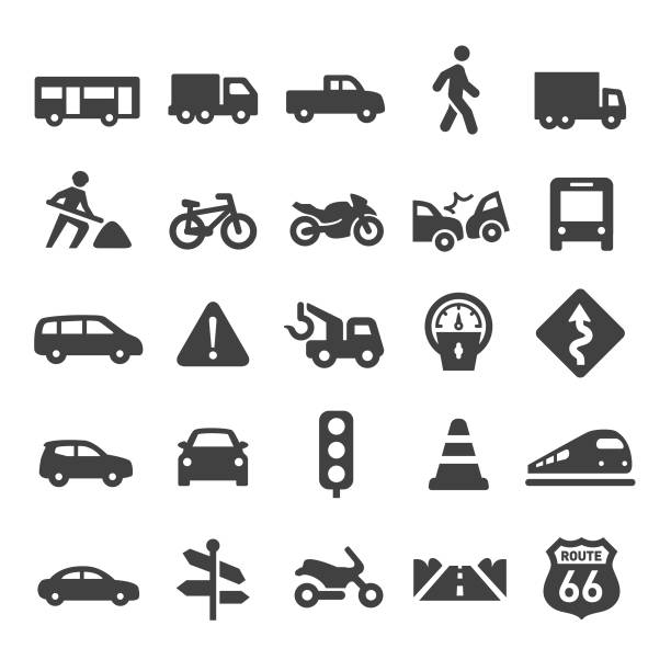 illustrazioni stock, clip art, cartoni animati e icone di tendenza di traffic icons - smart series - car