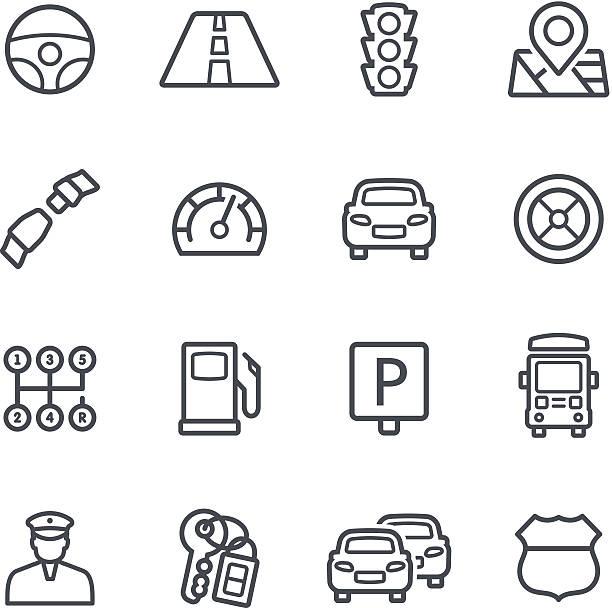 illustrations, cliparts, dessins animés et icônes de icônes de signalisation - polices ligne fine