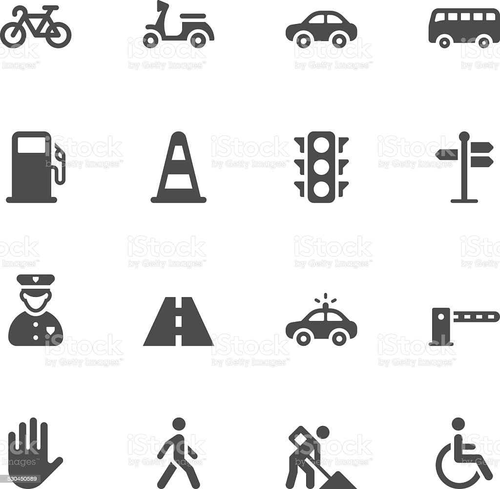 Traffic icons vector art illustration