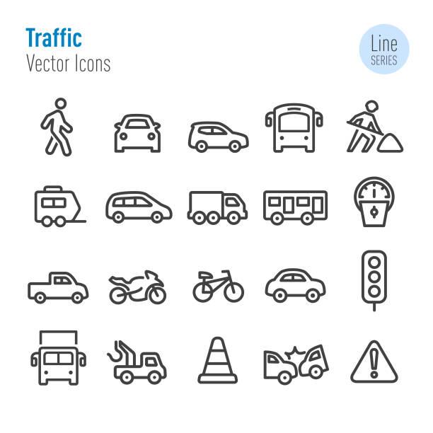 Traffic Icons - Vector Line Series Traffic, Transportation, van vehicle stock illustrations