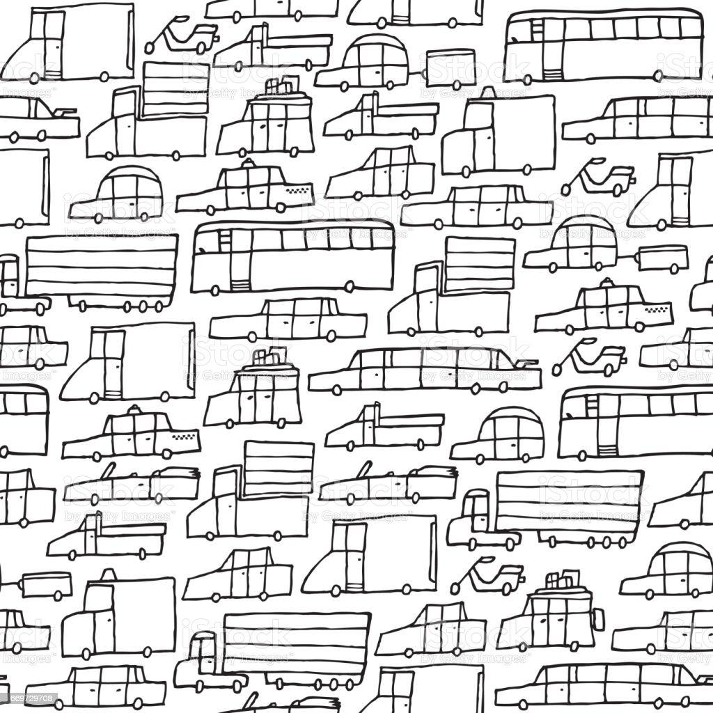 Traffic jam car black and white texture vector art illustration