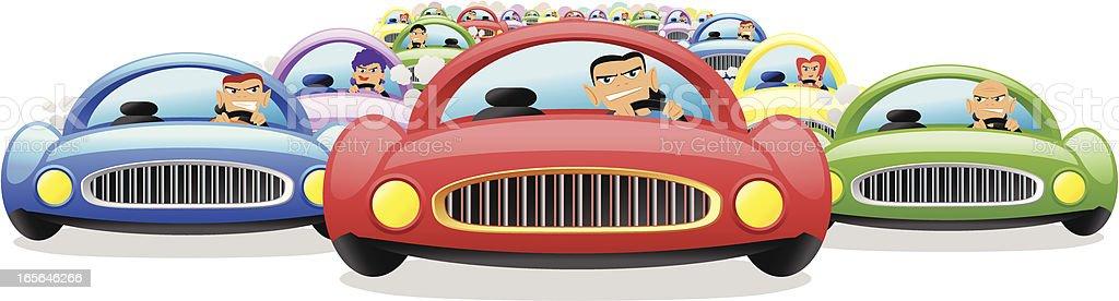 Traffic Jam Cartoon vector art illustration