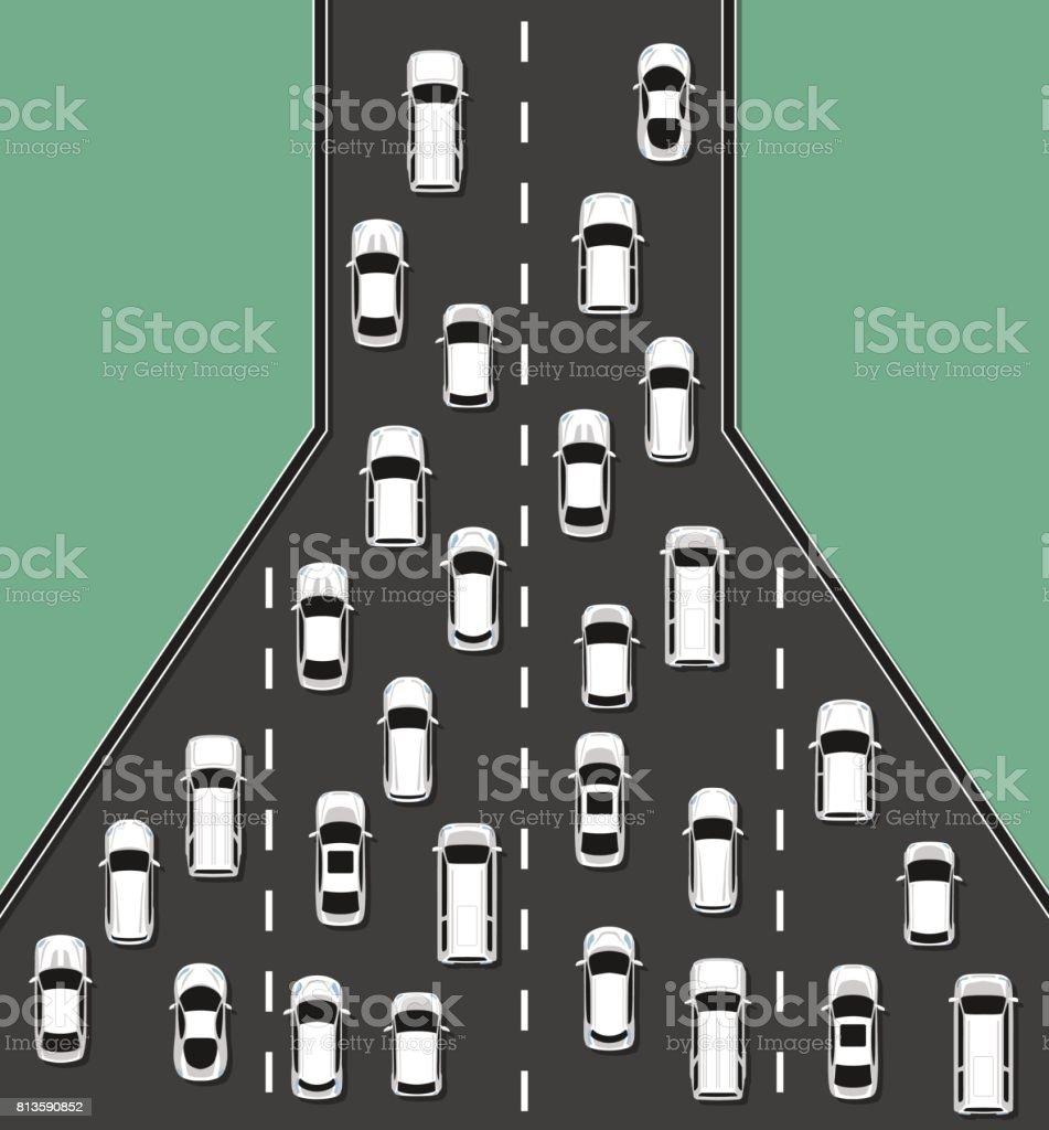 Traffic jam concept top view illustration. vector art illustration