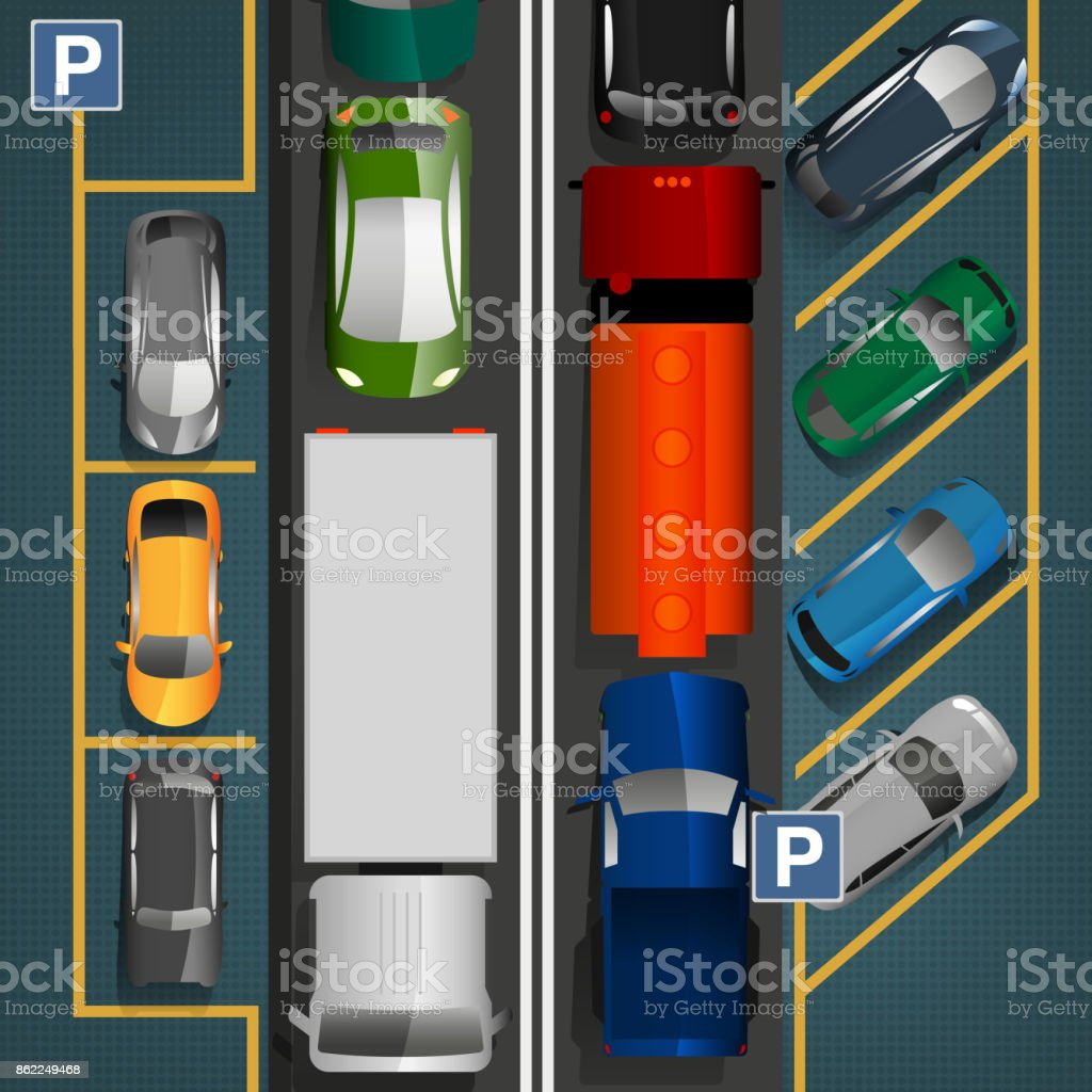 Traffic Jam Concept vector art illustration