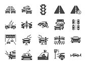 Traffic jam icon set. Included icons as congestion, transport, broken car, road and more.