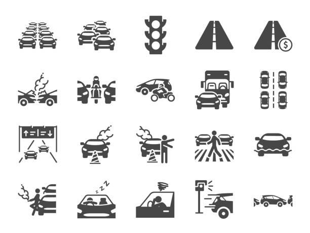zestaw ikon korków. zawiera ikony jako zatory, transport, zepsuty samochód, drogi i więcej. - ruch stock illustrations