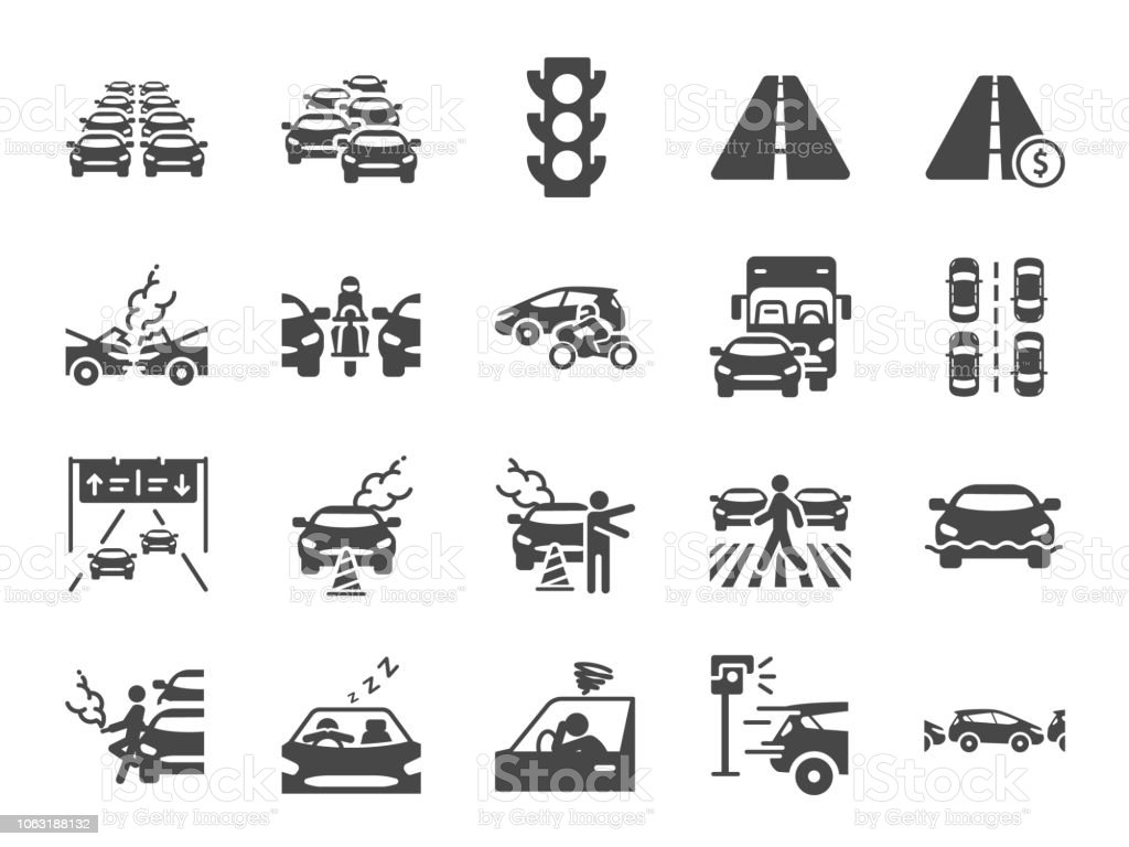 Traffic jam icon set. Included icons as congestion, transport, broken car, road and more. vector art illustration