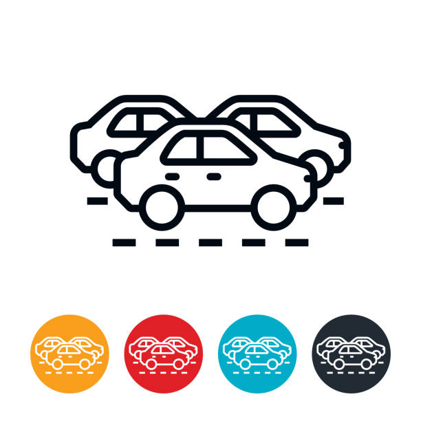 traffic jam icon - traffic stock illustrations
