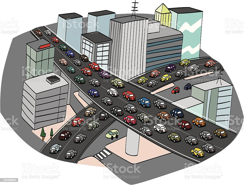 Traffic jam in a city expressway royalty-free stock vector art