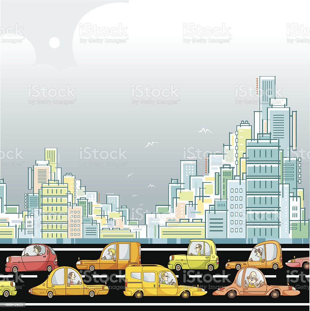 Traffic Jam In The City Royalty Free Stock Vector Art