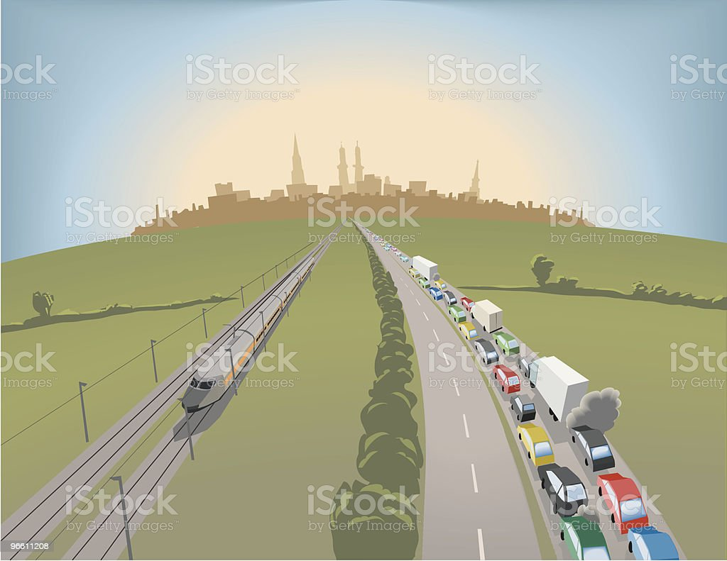 Traffic Jam on Highway vector art illustration