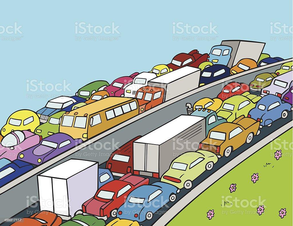 Stau Auf Dem Highway Mit Autos Und Lkws Stock Vektor Art Und Mehr