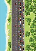 Aerial View of a Suburb with Traffic Jam.