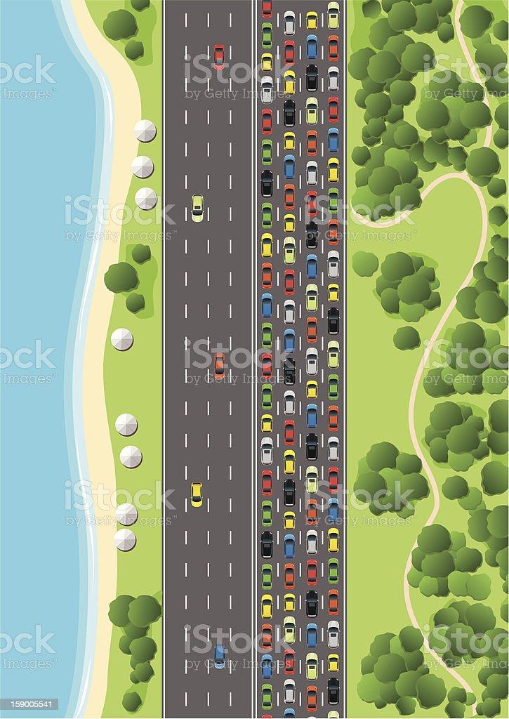 Traffic Jam on Multiple Lane Highway vector art illustration