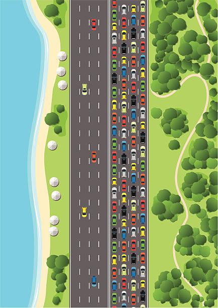 Traffic Jam on Multiple Lane Highway Aerial View of a Suburb with Traffic Jam. aerial view stock illustrations