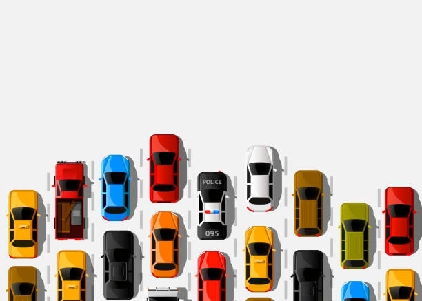 Traffic jam on the road. Road transport. Highway banner. Traffic jam on the road. Road transport. Highway banner. Vector background aerial view stock illustrations