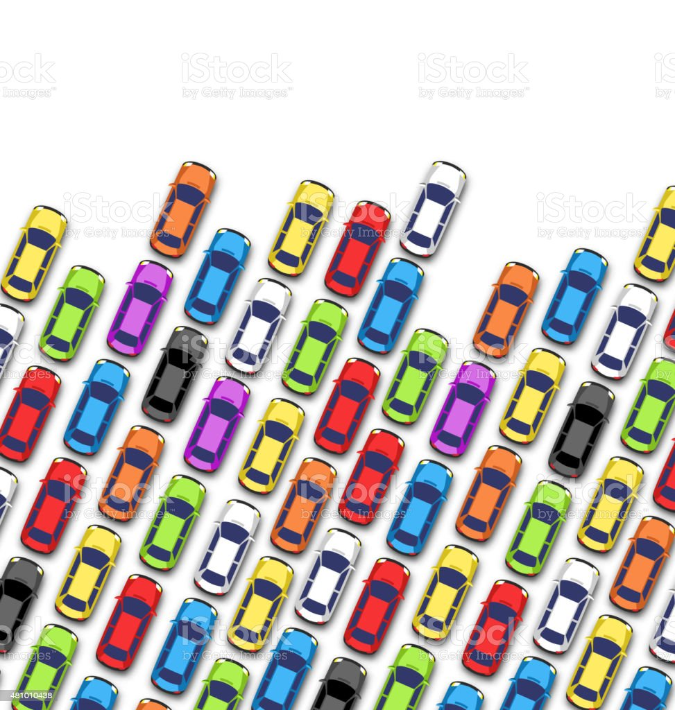 Traffic jam on the road with cars isolated on white vector art illustration