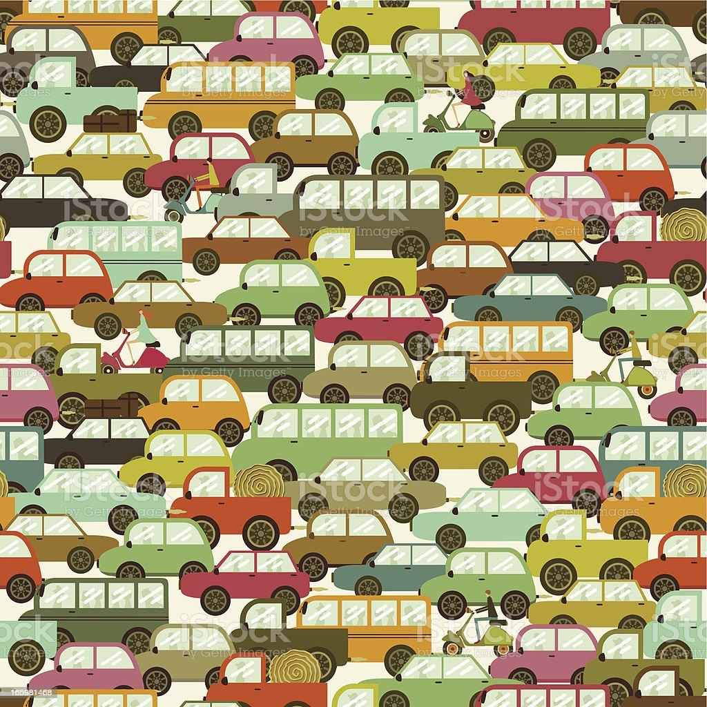 Traffic jam seamless pattern vector art illustration