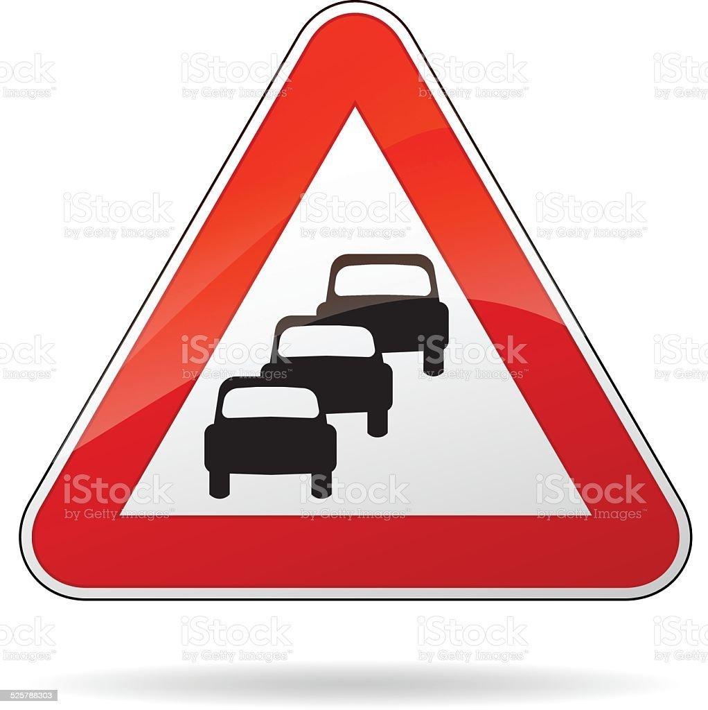 traffic jam sign vector art illustration