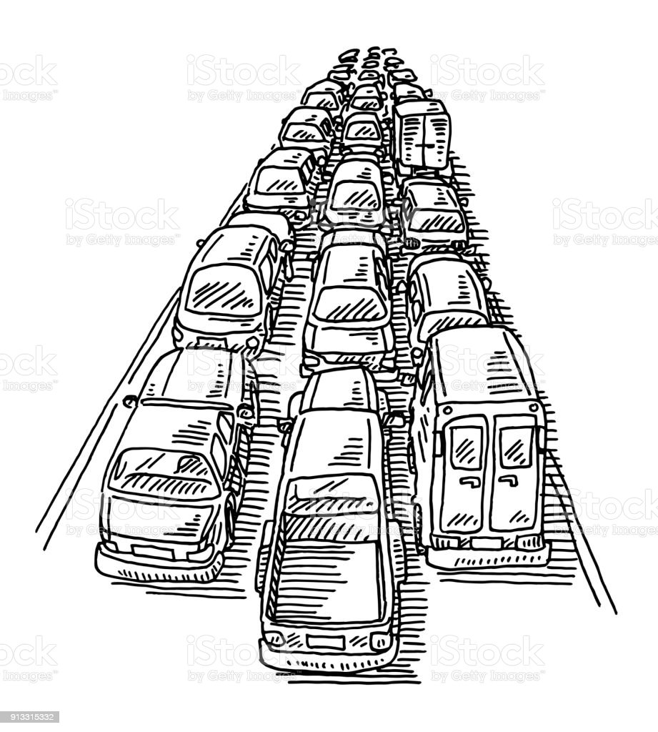 Traffic Jam Three Lane Highway Drawing Stock Vector Art & More ...