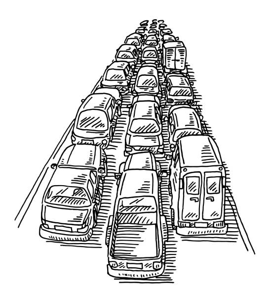 Traffic Jam Three Lane Highway Drawing Hand-drawn vector drawing of a Traffic Jam on a Three Lane Highway. Black-and-White sketch on a transparent background (.eps-file). Included files are EPS (v10) and Hi-Res JPG. transportation stock illustrations