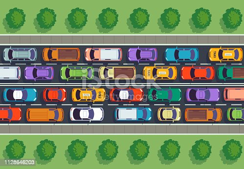 Traffic jam top view. Many cars on highway, different vehicles from above. Auto on road vector infographic