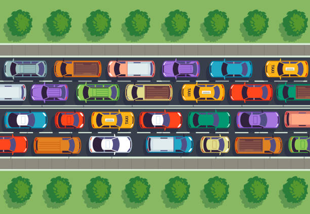 traffic jam top view. many cars on highway, different vehicles from above. auto vector infographic - traffic stock illustrations