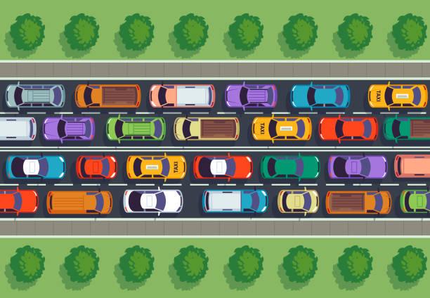 交通堵塞的頂部視圖。高速公路上有很多車, 不同的車輛從上面。自動向量資訊圖 - traffic 幅插畫檔、美工圖案、卡通及圖標