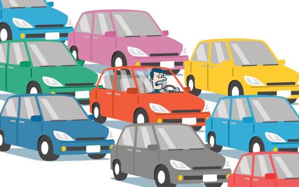 bildbanksillustrationer, clip art samt tecknat material och ikoner med trafikstockning - krockad bil