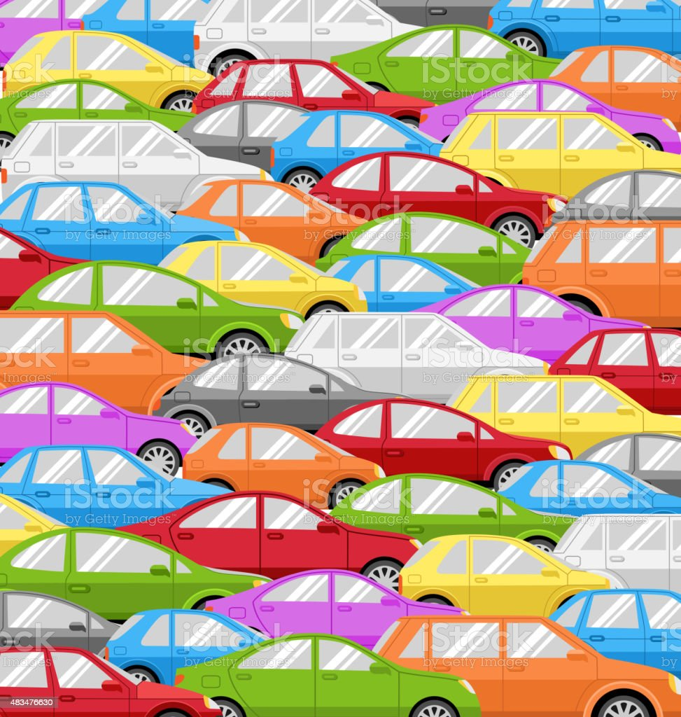 Traffic Jam With Cars. Road Background vector art illustration