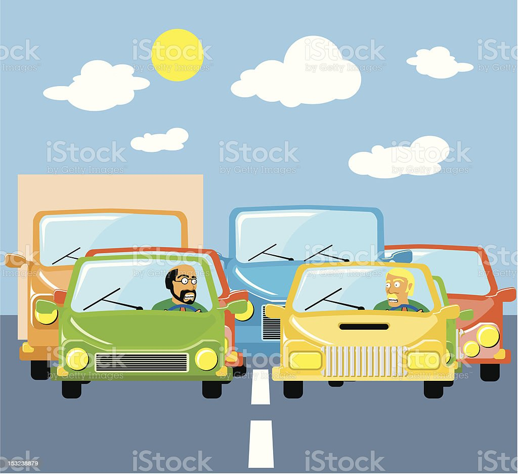 Traffic jams vector art illustration