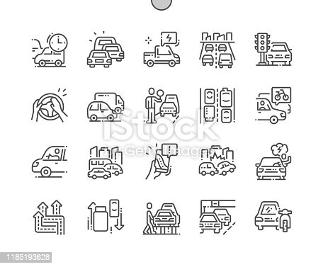 istock Traffic jams Well-crafted Pixel Perfect Vector Thin Line Icons 30 2x Grid for Web Graphics and Apps. Simple Minimal Pictogram 1185193628