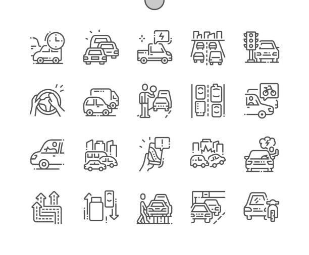stockillustraties, clipart, cartoons en iconen met files goed vervaardigde pixel perfect vector dunne lijn icons 30 2x grid voor web graphics en apps. eenvoudige minimale pictogram - forens