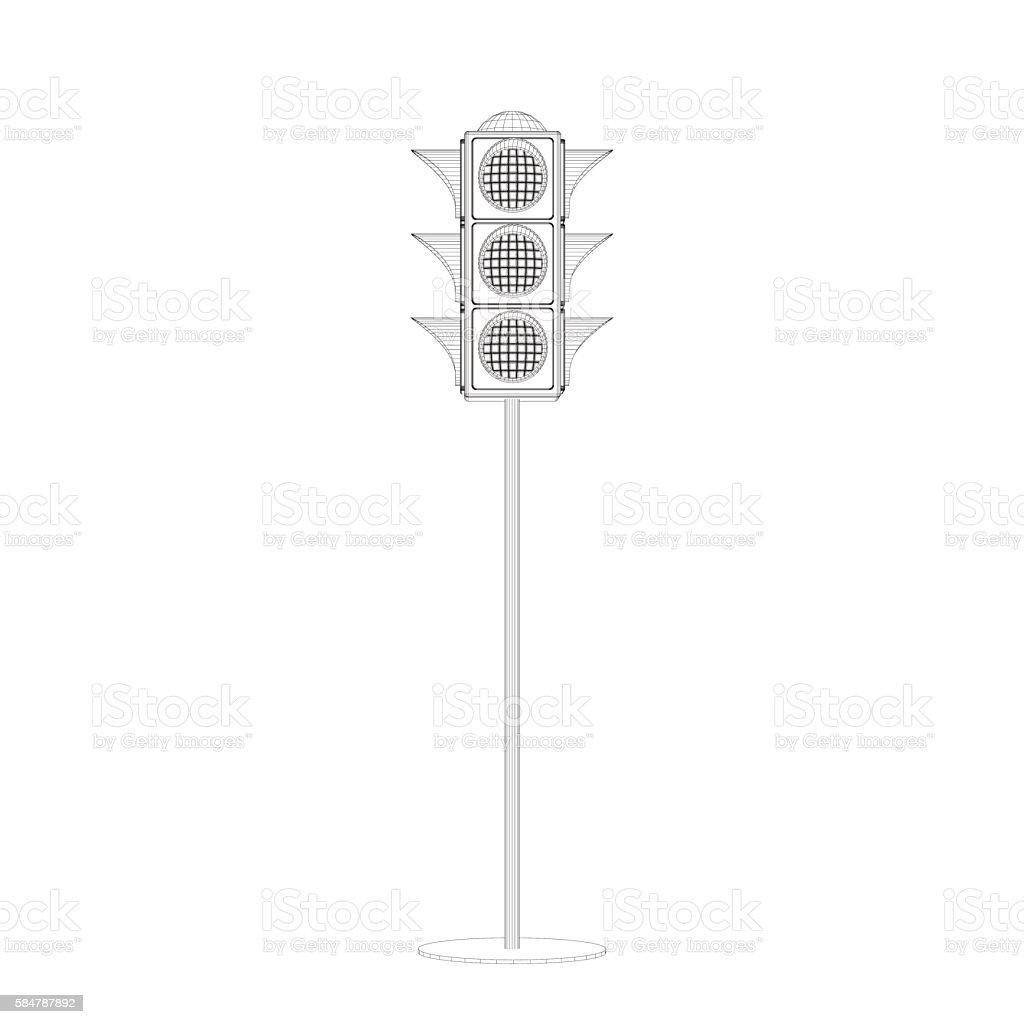 Traffic Light 3d Vector Outline Illustrationfront View stock ... for Traffic Light Sketch  199fiz