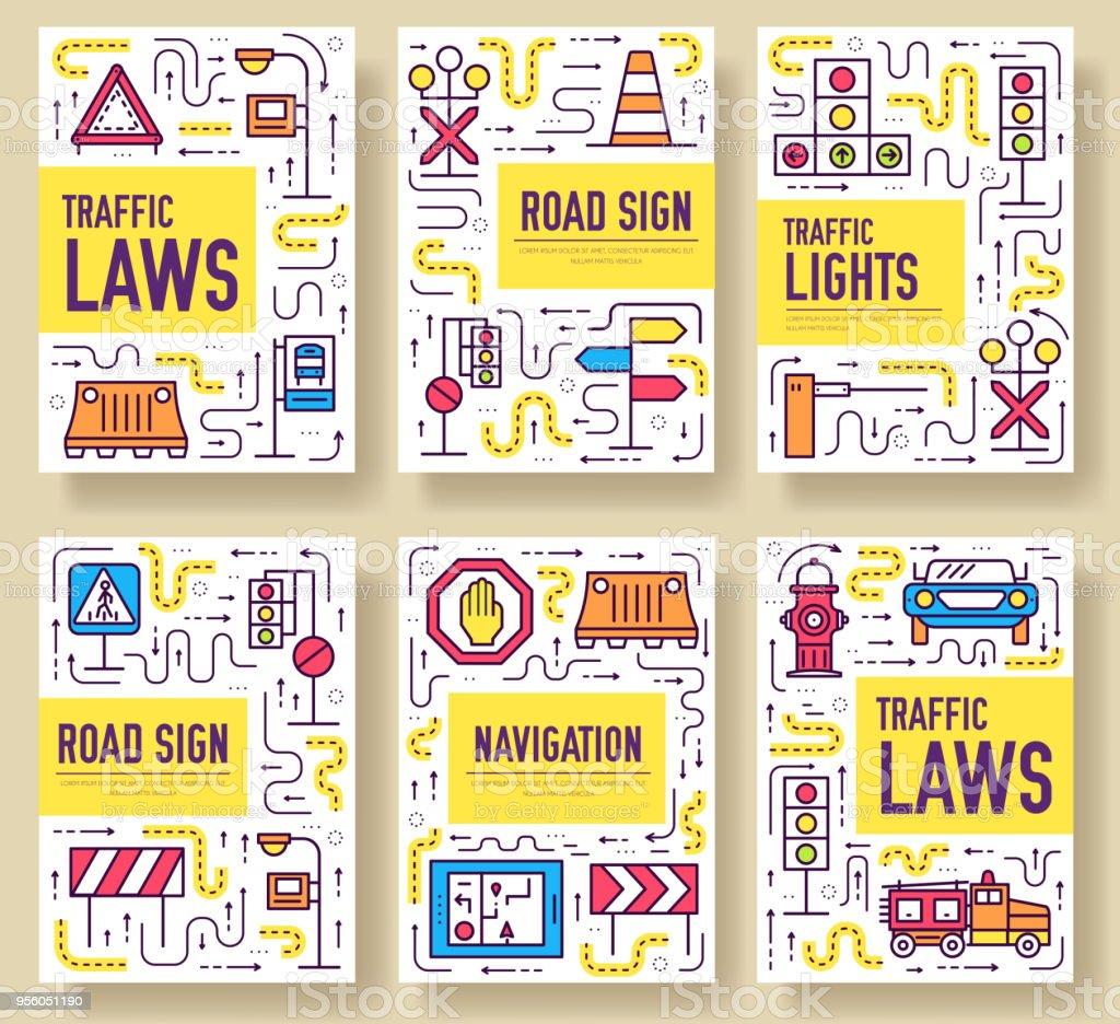 traffic light day vector brochure cards thin line set urban template