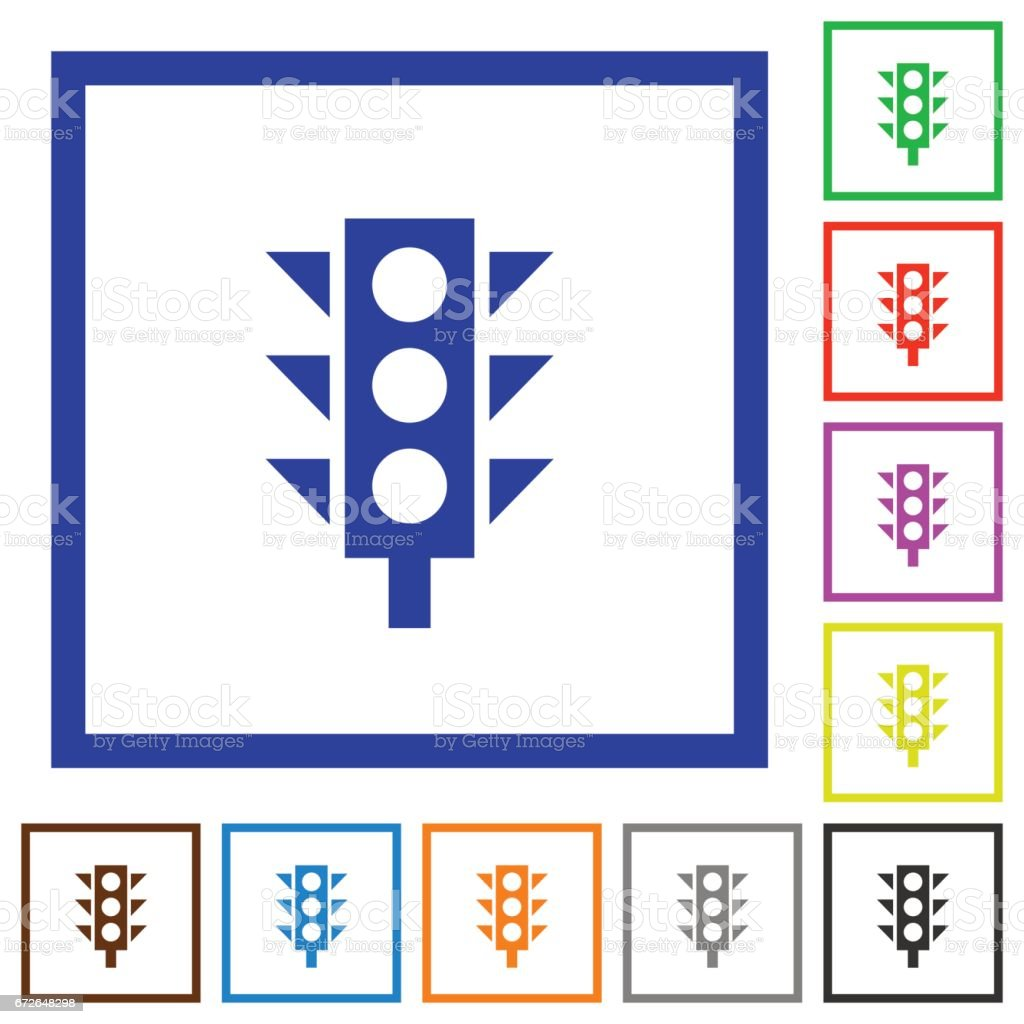 Traffic light framed flat icons vector art illustration