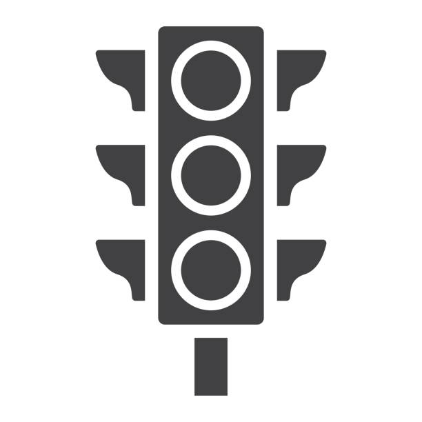 traffic light glyph icon, stoplight and navigation, regulation sign vector graphics, a solid pattern on a white background, eps 10. - stoplights stock illustrations, clip art, cartoons, & icons