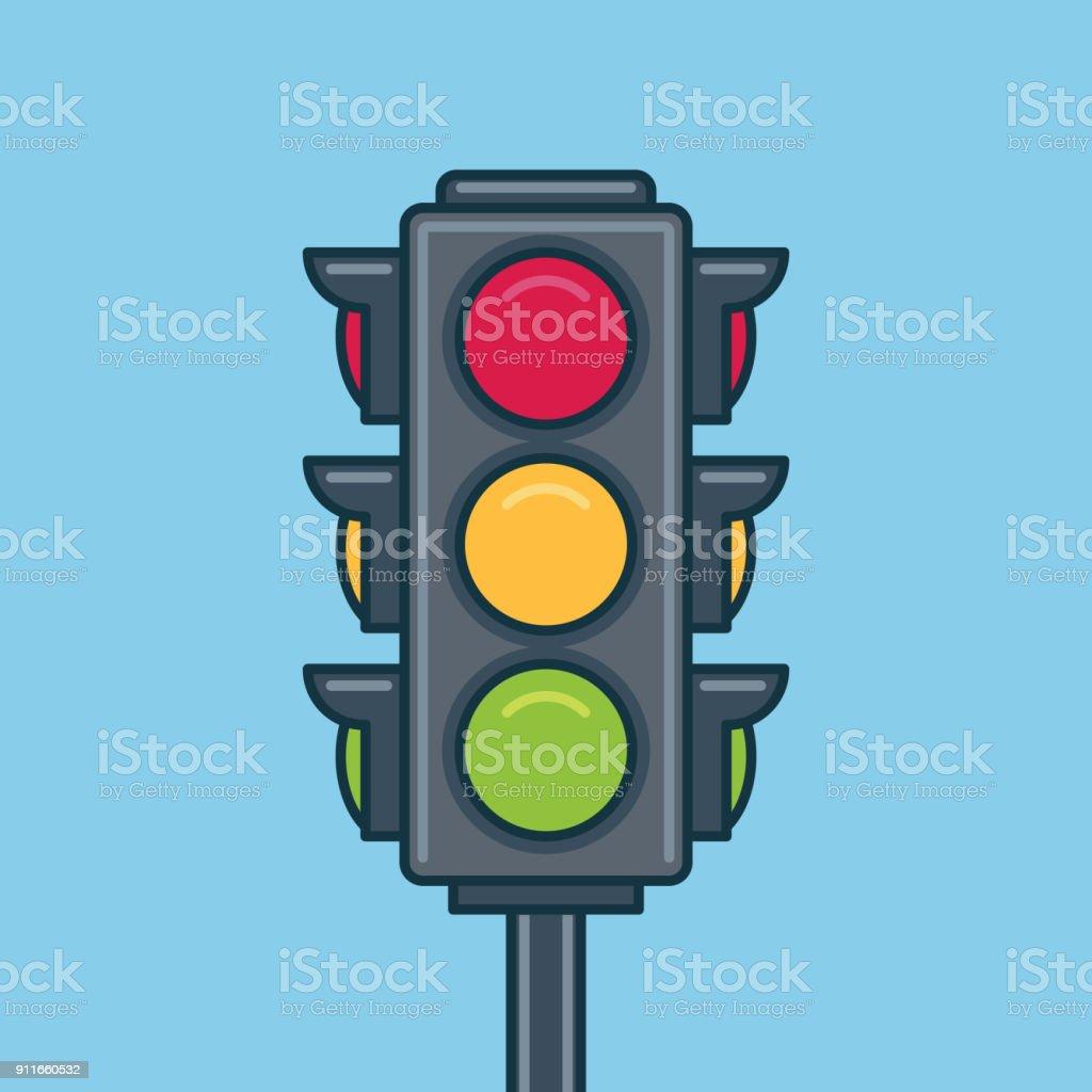 Icono de semáforo. Estilo plano - ilustración de arte vectorial