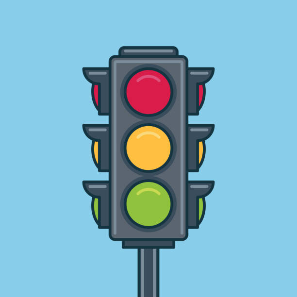 traffic light icon. flat style - stoplights stock illustrations, clip art, cartoons, & icons