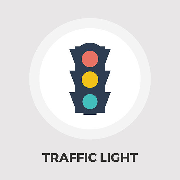 traffic light icon flat - stoplights stock illustrations, clip art, cartoons, & icons