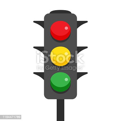 Traffic light with red, yellow and green lamps. Semaphore regulate transportation on crossroads urban road. Vector illustration.