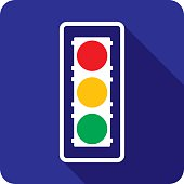Vector illustration of a blue traffic light icon in flat style.