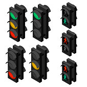 Traffic light in isometric view. Green, red and yellow lights. Pedestrian traffic controller. Vector illustration.