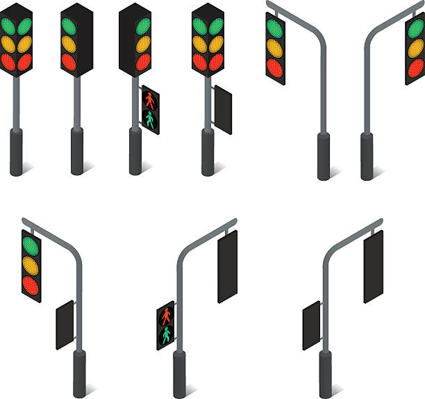 traffic light. led backlight. flat isometric. - stoplights stock illustrations, clip art, cartoons, & icons
