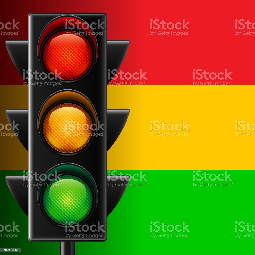 Traffic light on striped background vector art illustration