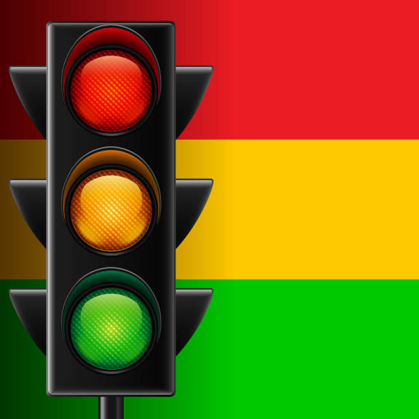 traffic light on striped background - stoplights stock illustrations, clip art, cartoons, & icons